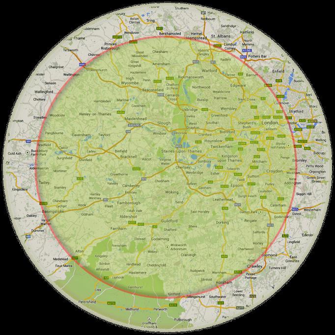 Map 25mile radius